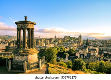 Edinburgh skyline seen from Calton Hill, Scotland