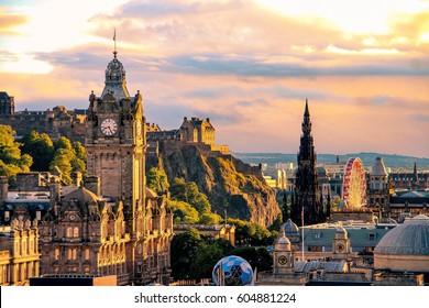 Edinburgh skyline seen from Calton Hill, Scotland