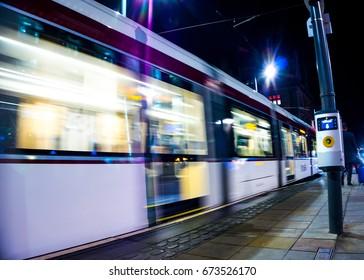 Edinburgh tram at speed