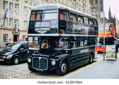 Edinburgh, UK - 18 June 2016: Discover Edinburgh, one of Europe's most haunted cities, on a fabulously fun and spooky sightseeing Ghost Tour aboard The Ghost Bus.