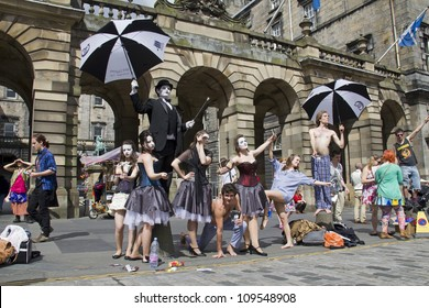 EDINBURGH, UK: AUGUST 2: Cast of Don Juan of Jackinabox Productions perform on the Royal Mile at the Edinburgh Festival Fringe in Edinburgh, UK on August 2, 2012