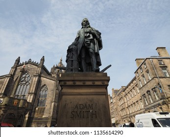 EDINBURGH, UK - CIRCA JUNE 2018: Statue of Scottish economist philosopher and writer Adam Smith on the Royal Mile