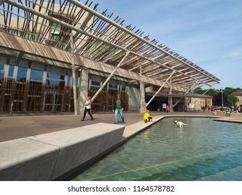 EDINBURGH, UK - CIRCA JUNE 2018: The Scottish Parliament (aka Parlamaid na h-Alba in Gaelic)