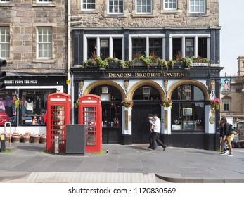 EDINBURGH, UK - CIRCA JUNE 2018: Deacon Brodie's Tavern public house