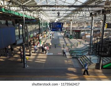 EDINBURGH, UK - CIRCA JUNE 2018: Edinburgh Waverly railway station