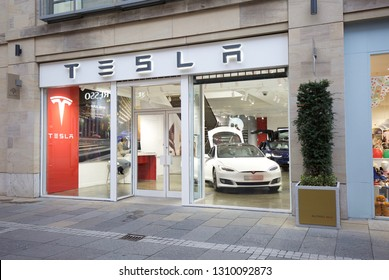 EDINBURGH, UK – December 11, 2018:  A showroom for the US motor company Tesla in Multrees Walk, Edinburgh, an upmarket shopping district