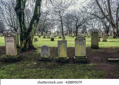 Edinburgh, UK - January 20, 2015. Old Cemetery on a lower slopes of Corstorphine Hill in Edinburgh city