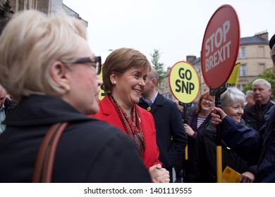 EDINBURGH, UK - MAY 18, 2019: SNP leader Nicola Sturgeon campaigning for the European Parliament elections on May 23