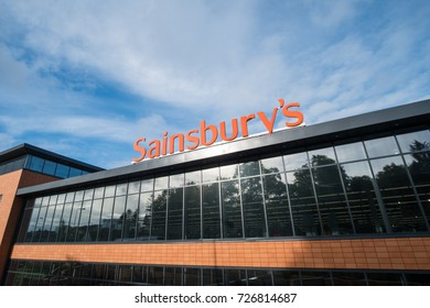 Edinburgh, United Kingdom - 8 September 2017: Exterior shop of Sainsbury's, the second largest chain of supermarkets in the United Kingdom