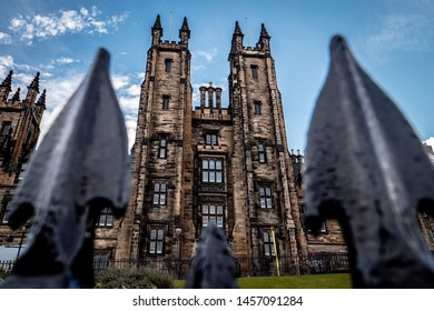 Edinburgh, UNITED KINGDOM - December 2018 - Exterior shot of the New College, part of the University of Edinburgh