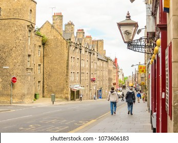 EDINBURGH, UNITED KINGDOM - JUNE 13, 2013: Street view of the historic Royal Mile. Edinburgh, Scotland, UK