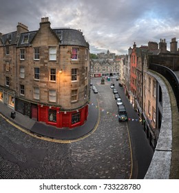 EDINBURGH, UNITED KINGDOM - SEPTEMBER 12, 2017: Victoria Street, Edinburgh, Scotland. Victoria Street leads to the Grassmarket which is a historic market place and an event space in the Old Town.