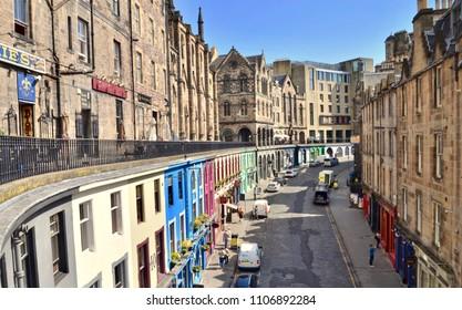 Edinburgh Victoria street I the grass market, a medieval street in the old town of Edinburgh. Scotland UK. jUNE 2018