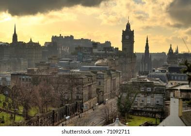 Edinburgh vista from Calton Hill including Edinburgh Castle, Balmoral Hotel and Scott Monument