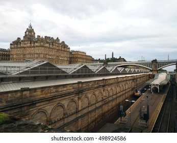 Edinburgh Waverley railway station with former North British Hotel above the station Edinburgh Scotland  Europe