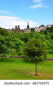 Edinburgh's Castlehill viewed by Princes St Garden in june