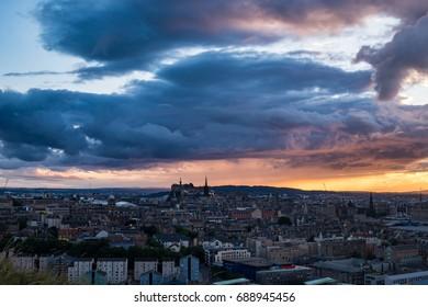 Edinburgh's skyline with dramatic clouds at sunset. Scotland, UK, Europe