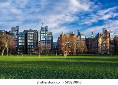 Edinburgh's skyline with the Meadows (Park) in the foreground. Scotland, United Kingdom