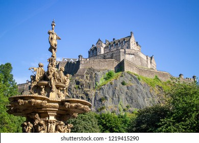 Edinburgh/Scotland - July 11th 2014: Edinburgh Castle on sunny day with blue sky