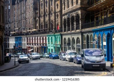 Edinburgh/Scotland - July 11th 2014 : Victoria Street Edinburgh, famous curved street with shops
