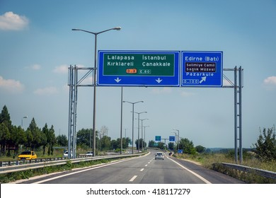 Edinei, Turkey - July 22nd 2014 - A double lane road showing the directions to Istanbul close to the boarder with Bulgaria, Edinei, Turkey