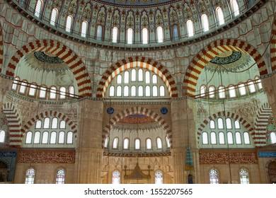 Edirne, Selimiye / TURKEY - November 18, 2014: Interior view of the magnificent Selimiye Mosque in Edirne. Masterpiece of Mimar Sinan. Mimar Sinan, UNESCO world heritage list and Ottoman concepts.