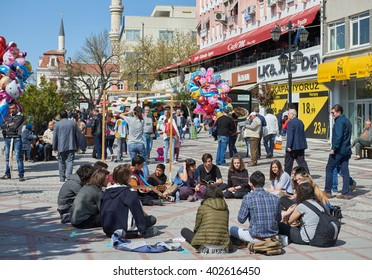 EDIRNE, TUKKEY, 02.04.2016. View to crowded street with shops, hotels, transport and people in Bazaar Edirne in Edirne Turkey.