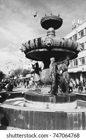 EDIRNE, TUKKEY, OCTOBER 27, 2017:The fountain in the city center.