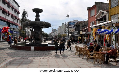 Edirne, Turkey, 02/02/2018. City life. Country life. It is Saraclar Caddesi of Edirne, where shops and restaurants are located.