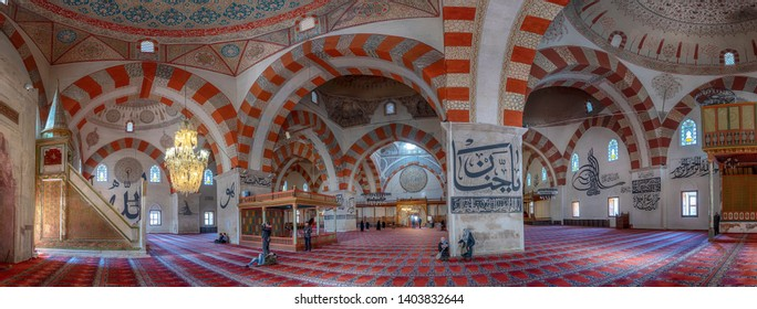 Edirne, Turkey - 10 May, 2019: Inside interior of The Old Mosque (Turkish: Eski Camii or Ulu Cami). An early 15th century Ottoman mosque. Order of Emir Suleyman, one of the sons of Beyazit