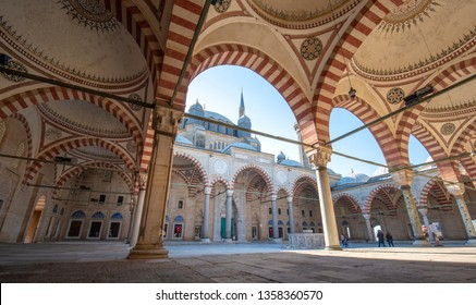 EDIRNE, TURKEY - 30 March, 2019: Courtyard of Selimiye mosque in Edirne, Turkey. The mosque was commissioned by Sultan Selim II, and was built by architect Mimar Sinan. Unesco heritage site.