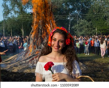 EDIRNE, TURKEY - 5  May 2018. Kakava Festival (Roman Festival)is big fire around a lot of tourist playing dance during Hidirellez starting spring from Edirne, Turkey.People are happy and playing dance