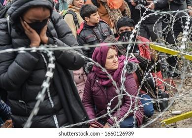 EDIRNE, TURKEY - FEBRUARY 29, 2020: Migrants gather inside the buffer zone of the Turkey-Greece border, at Pazarkule, in Edirne district.