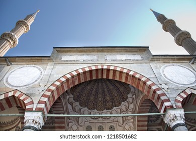 Edirne, Turkey, January 30, 2016: Outside and inside views of Selimiye Mosque in Edirne Turkey