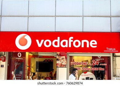 Edirne, Turkey - JULY 7, 2017: Vodafone Store  - Vodafone is a British multinational telecommunications company and It is the one of the world's largest mobile telecommunications company.