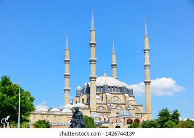 Edirne, Turkey: June 16, 2019 - View of Selimiye Mosque, is the most important and, at the same time, the most famous historical monument of Edirne - a city located in the European part of Turkey.