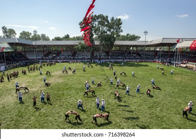 EDIRNE, TURKEY - JUNE 26, 2010 : Wrestlers cover the arena at the Kirkpinar Turkish Oil Wrestling Festival in Edirne in Turkey. Kirkpinar is the most prestigious wrestling tournament in Turkey to win.