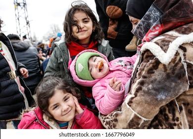 EDIRNE, TURKEY - MARCH 04, 2020: Little girl migrants waiting in Edirne, Turkey-Greece border.