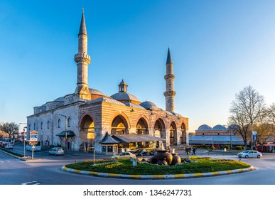 Edirne, Turkey - March 19, 2019 : Old Mosque exterior view in Edirne City of Turkey. Edirne was capital of Ottoman Empire.