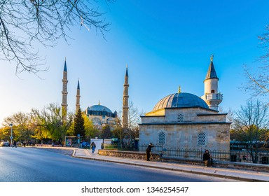 Edirne, Turkey - March 19, 2019 : Selimiye Mosque and  Hidir Aga panoramic view in Edirne City of Turkey. Edirne was capital of Ottoman Empire.