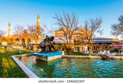 Edirne, Turkey - March 19, 2019 : Old Mosque and Bedesten Shopping Center exterior view in Edirne City of Turkey. Edirne was capital of Ottoman Empire.