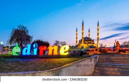 Edirne, Turkey - March 20, 2019 : Architect Mimar Sinan and Fatih Sultan Mehmet Statues night view at front of Selimiye Mosque in Edirne City.