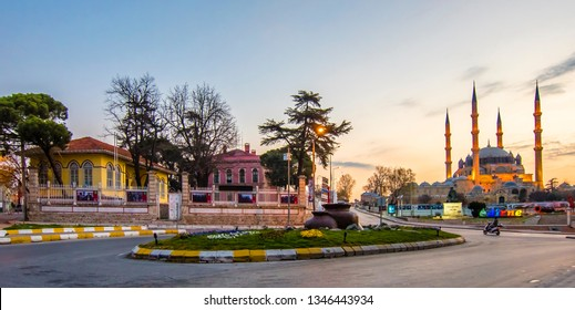 Edirne, Turkey - March 20, 2019 : Selimiye and Old Houses night view in Edirne City of Turkey