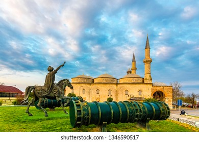 Edirne, Turkey - March 20, 2019 : Old Mosque exterior view in Edirne City of Turkey. Edirne was capital of Ottoman Empire.