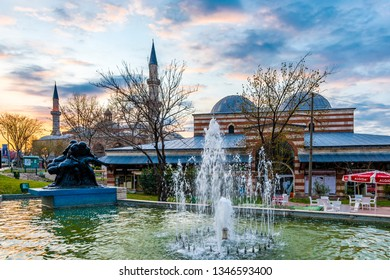 Edirne, Turkey - March 20, 2019 : Old Mosque and Bedesten Shopping Center exterior view in Edirne City of Turkey. Edirne was capital of Ottoman Empire.