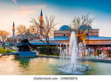 Edirne, Turkey - March 21, 2019 : Old Mosque and Bedesten Shopping Center exterior view in Edirne City of Turkey. Edirne was capital of Ottoman Empire.