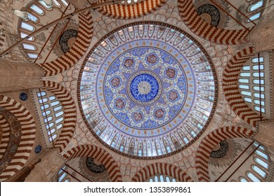 EDIRNE, TURKEY - MARCH 9: Dome of the in selimiye mosque photo taken with a wide angle on March 9, 2019 in Edirne, Turkey.