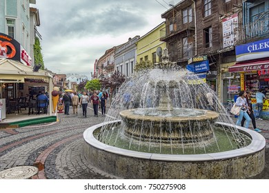 Edirne, Turkey- May 02 2015: View of fountain and people in Bazaar Edirne in Edirne Turkey.