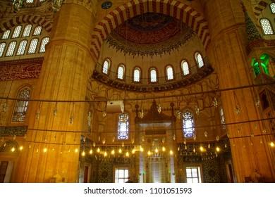 EDIRNE, TURKEY - MAY 2, 2018 -Islamic designs of the interior of Sinan's Selimiye Mosque, 16th century,  in Edirne,Turkey