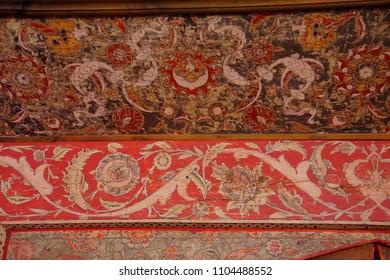 EDIRNE, TURKEY - MAY 2, 2018 -Painted designs on the interior of of Sinan's Selimiye Mosque, 16th century,  in Edirne,Turkey